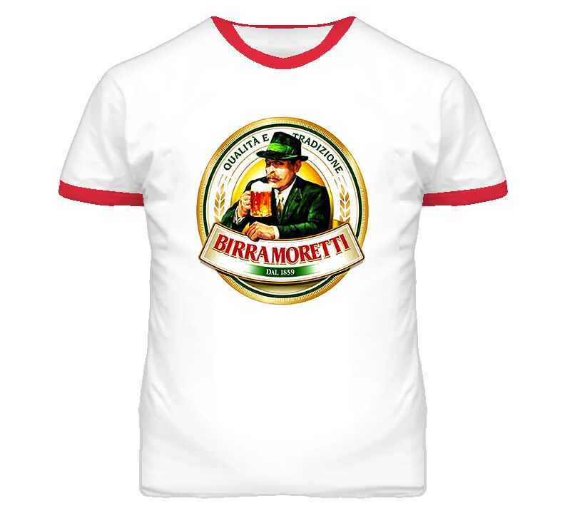 Birra moretti biera italian beer italy t shirt red ring ebay for Shirts made in italy
