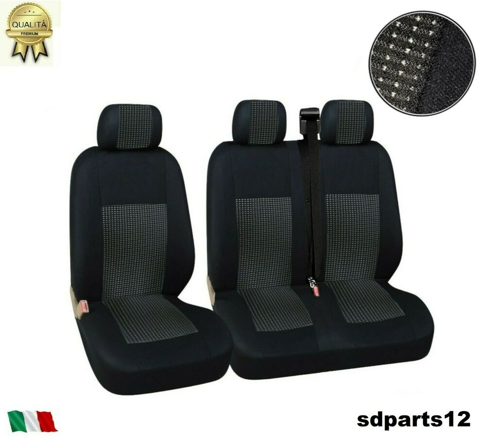renault trafic master housse couvre sieges tissu luxe 2 1 noir noir ebay. Black Bedroom Furniture Sets. Home Design Ideas