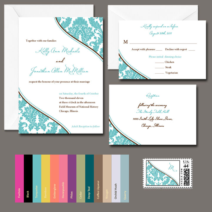 100 Personalized Damask Wedding Invitations Any Color
