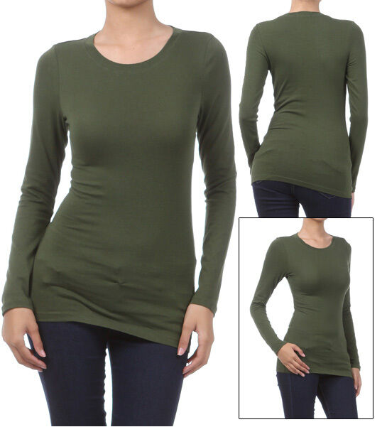 Basic Long Sleeve Solid Top Womens Plain Cotton T-Shirt Stretch ...