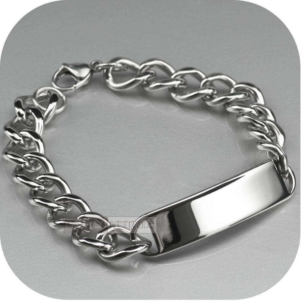 stainless steel curb chain id bracelet name tag engravable