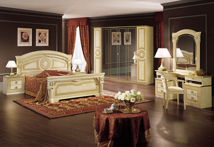 komplett m bel schlafzimmer set klassische stilm bel italien beige hochglanz ebay. Black Bedroom Furniture Sets. Home Design Ideas