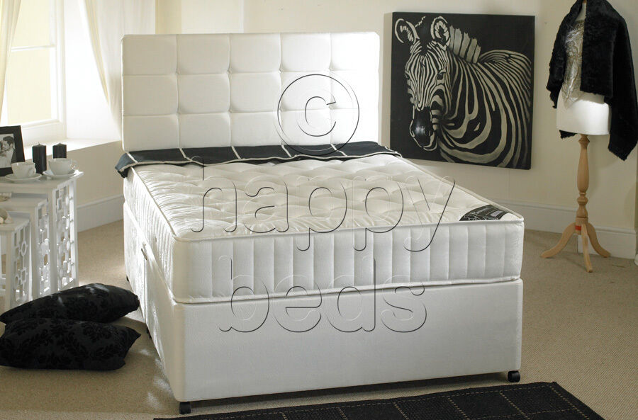 5ft king size divan bed storage headboard with semi for Cheap king size divan