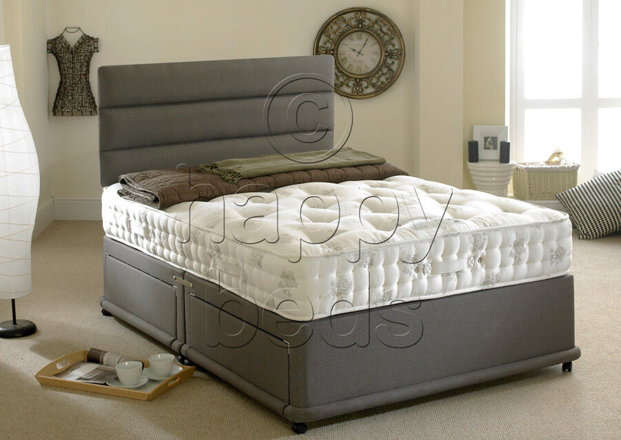 Happy beds divan bed 5ft king size organic 1400 pocket for Single divan with drawers and headboard