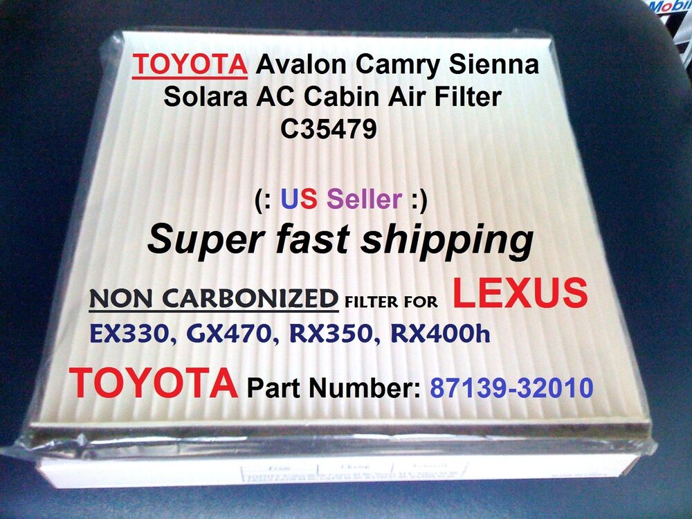 for toyota ac cabin air filter avalon camry sienna solara. Black Bedroom Furniture Sets. Home Design Ideas