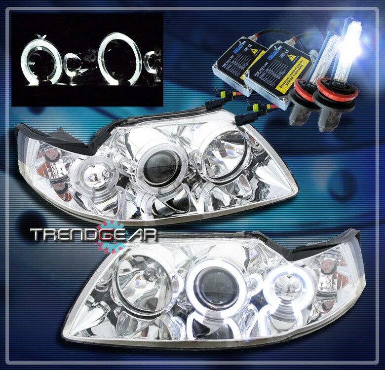 New Mitsubishi Eclipse >> 1999-2004 FORD MUSTANG HALO PROJECTOR HEADLIGHTS+HID CHROME 2000 2001 2002 2003 | eBay
