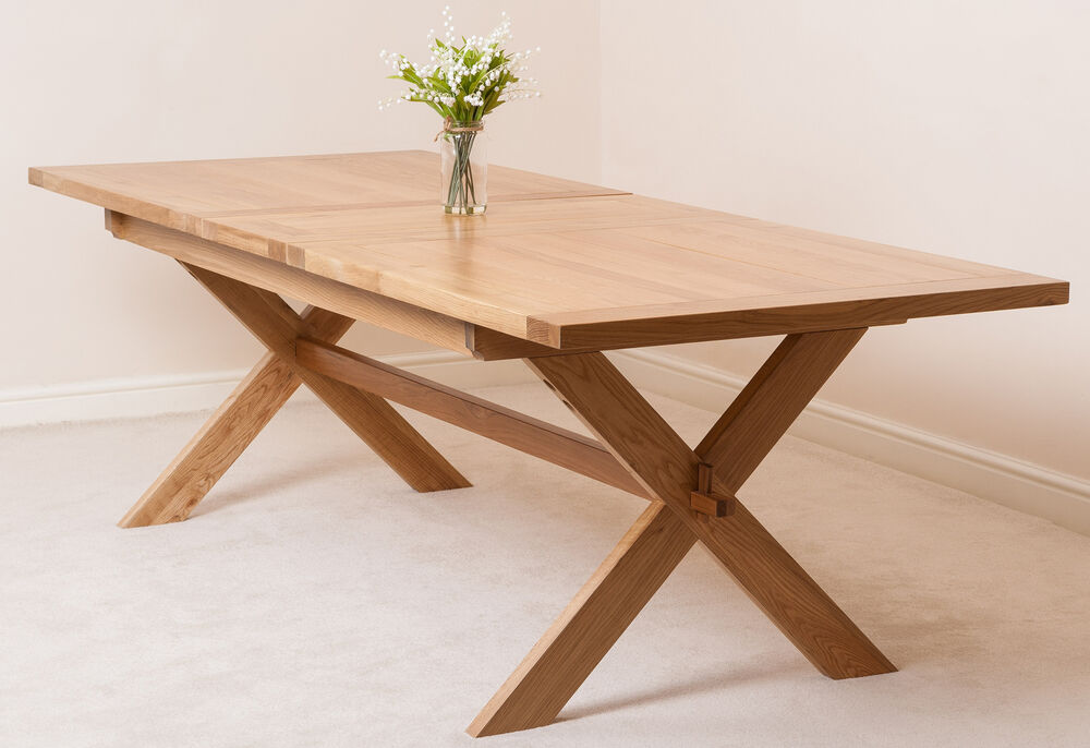 Vermont Solid Oak Wood Medium 200cm Extending Table Wooden Dining Room Furnit