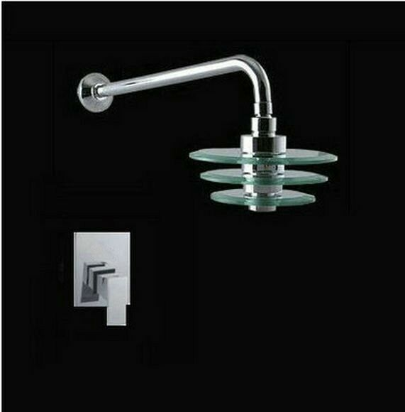 Wall Mounted 8 Quot Glass Chrome Waterfall Shower Head W Arm