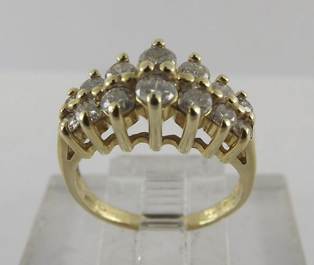 14kt solid yellow gold waterfall diamond cluster ring. Black Bedroom Furniture Sets. Home Design Ideas