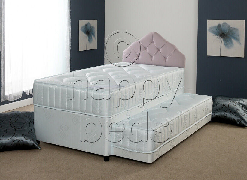 Happy beds divan bed 3ft 4ft6 quilted spring mattress for Single divan with drawers and headboard