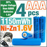 4 pcs 1150mWh AAA NiZn 1.6V Volt Rechargeable Battery 3A LR03 HR03 Blue