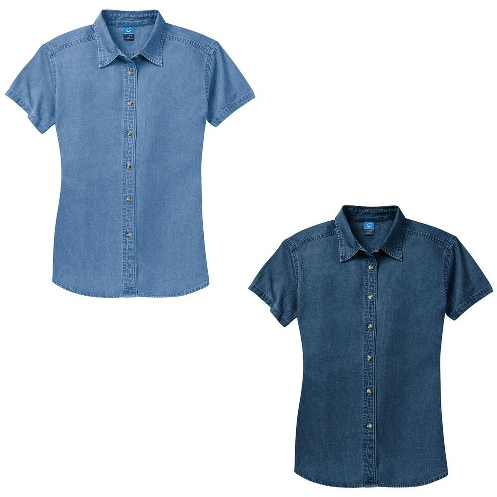 Ladies short sleeve casual denim jean shirt faded ink for Jeans shirt for ladies online
