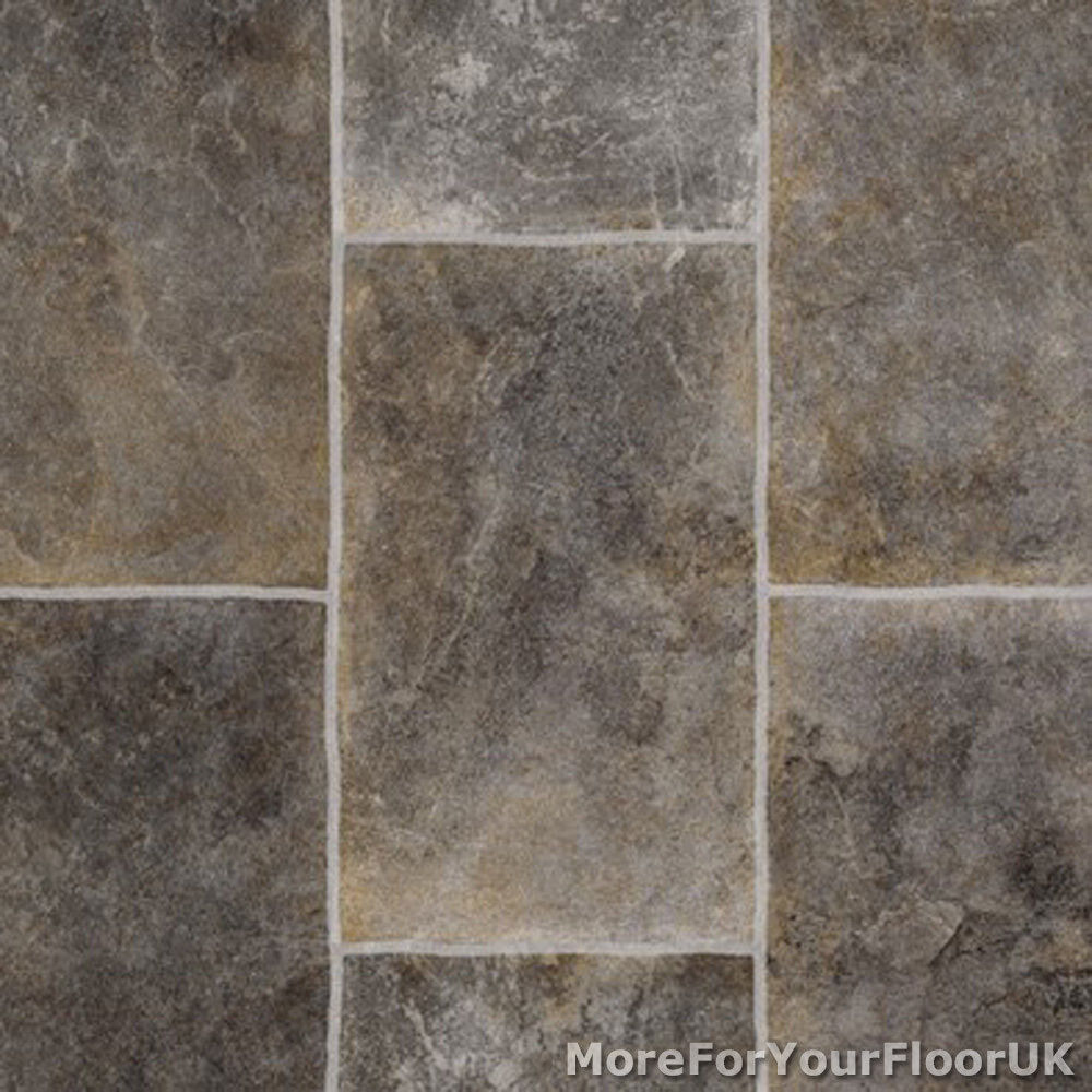 Grey rectangle tile vinyl flooring slip resistant lino 3m for Cushion floor tiles kitchen