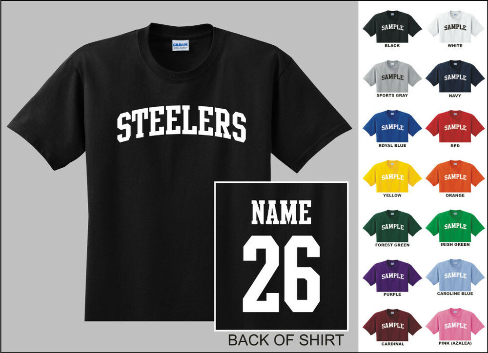 Steelers college letters custom name number personalized for Personalized football t shirts