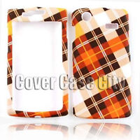 For Samsung Captivate i897 White Orange Plaid Print Skin Case Cover Faceplate
