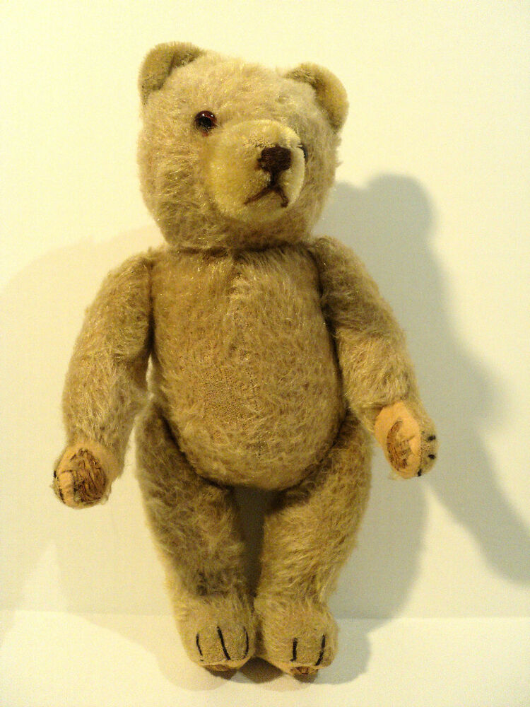 "ADORABLE ANTIQUE 11"" LIGHT BEIGE MOHAIR JOINTED TEDDY BEAR"