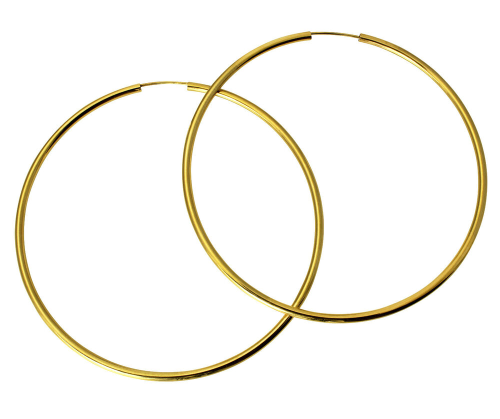 14k yellow gold endless hoop earrings 2mm all 14k yellow gold 2mm thick polished large endless