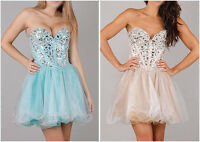 New Mini Short Cocktail Prom Party Dress FULL CRYSTALS ON UPPER BODICE