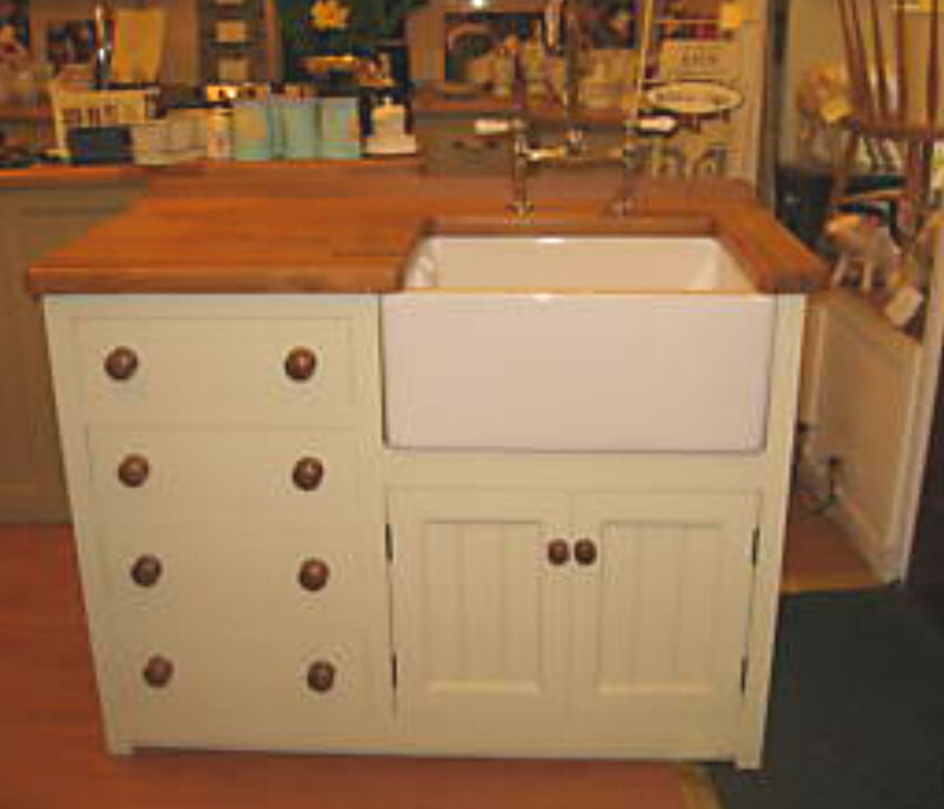 1200 x 600 pine kitchen belfast 4 drawer sink unit oak