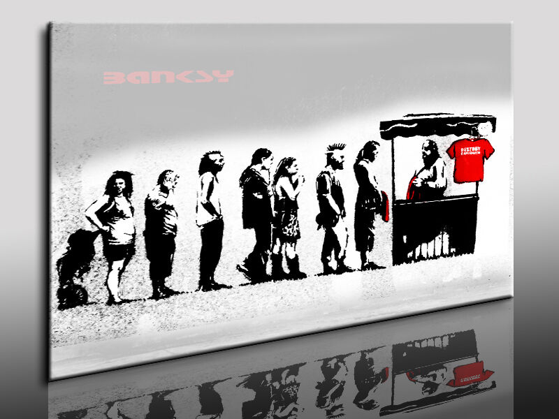 graffiti banksy bild auf leinwand street art kunstdruck wandbild k poster ebay. Black Bedroom Furniture Sets. Home Design Ideas