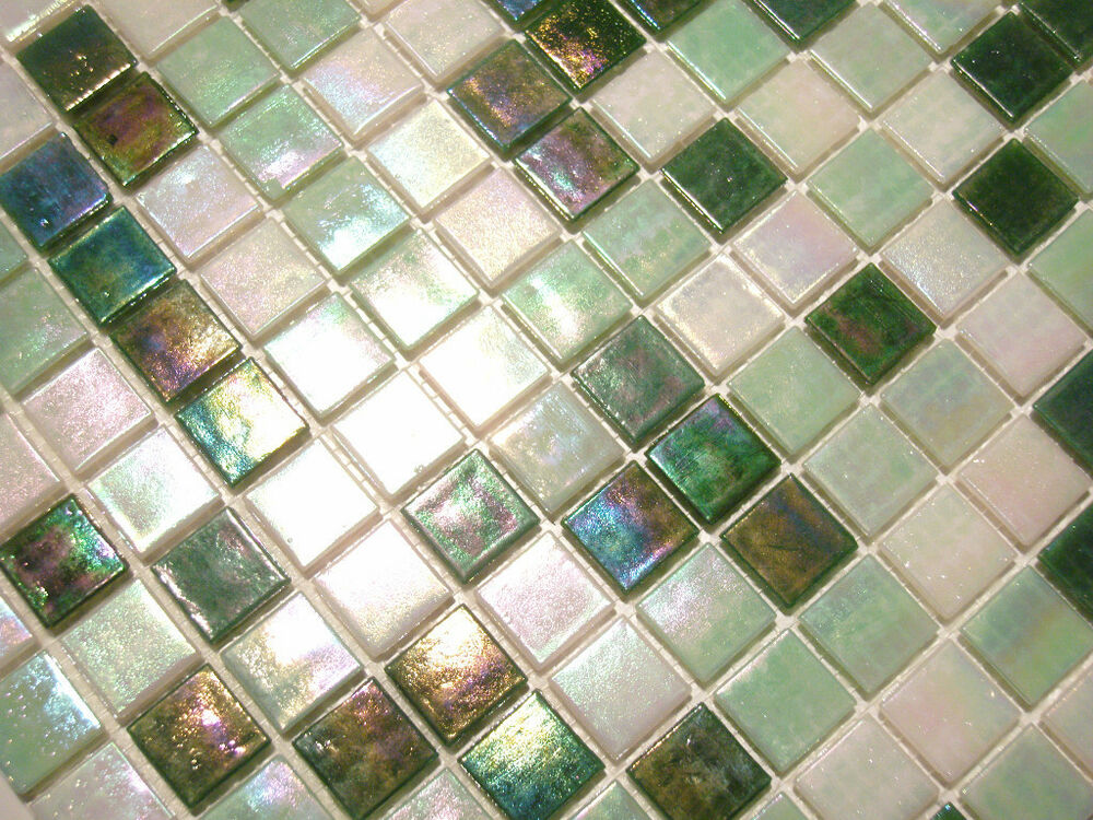 glasmosaik fliesen mosaik perlmutteffekt weiss gr n perlmutt bad pool dusche ebay. Black Bedroom Furniture Sets. Home Design Ideas