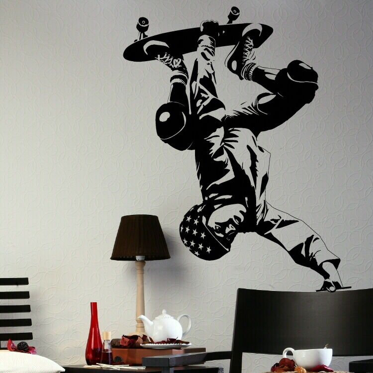 SKATEBOARDER SKATE Wall art stickers stencil skateboard decals giant murals ne37  eBay