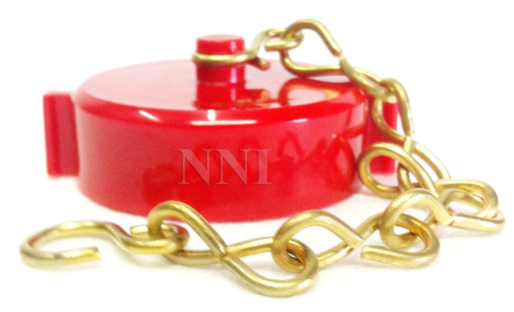 Quot fire hose valve hydrant cap and chain nst red