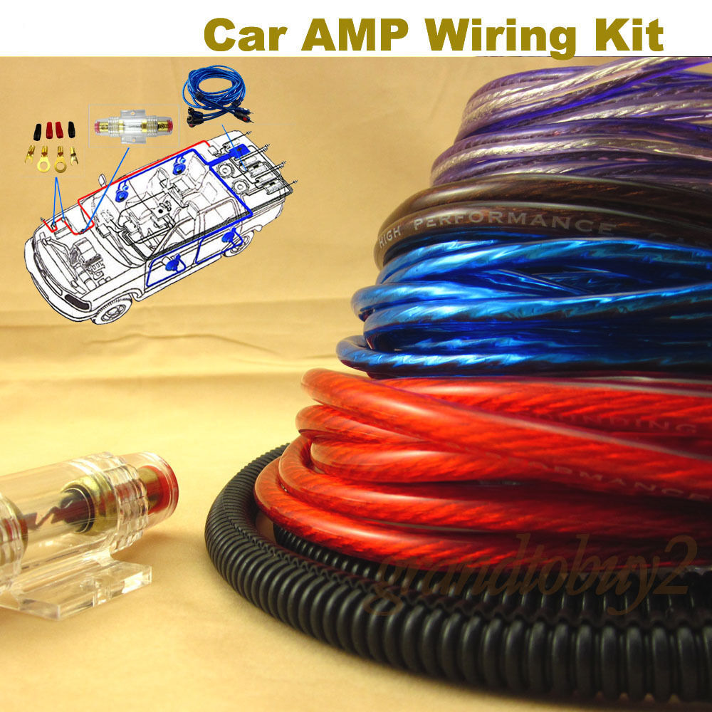 new car audio subwoofer sub amplifier amp rca wiring kit