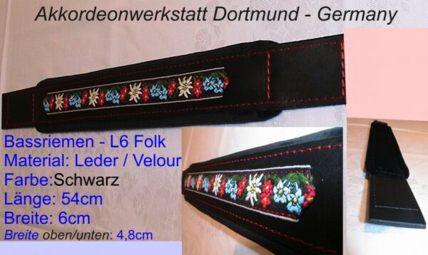 6 x 54 cm,Akkordeon Bass- Gurt, Riemen,correa acordeon,accordion bass strap FOLK