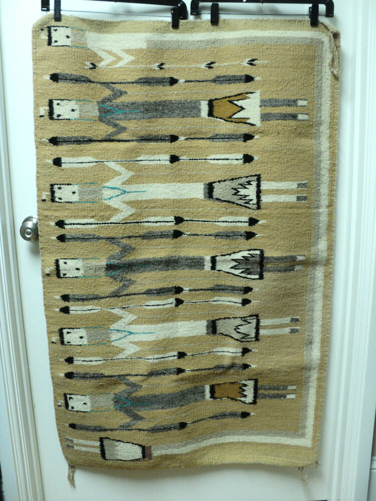 Vintage Quot Yei Quot Figural Decorated Navajo Rug Shiprock New