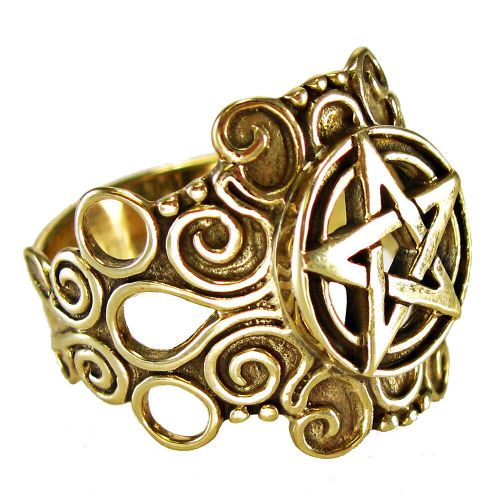 large bronze ornate pentacle ring pagan jewelry wiccan