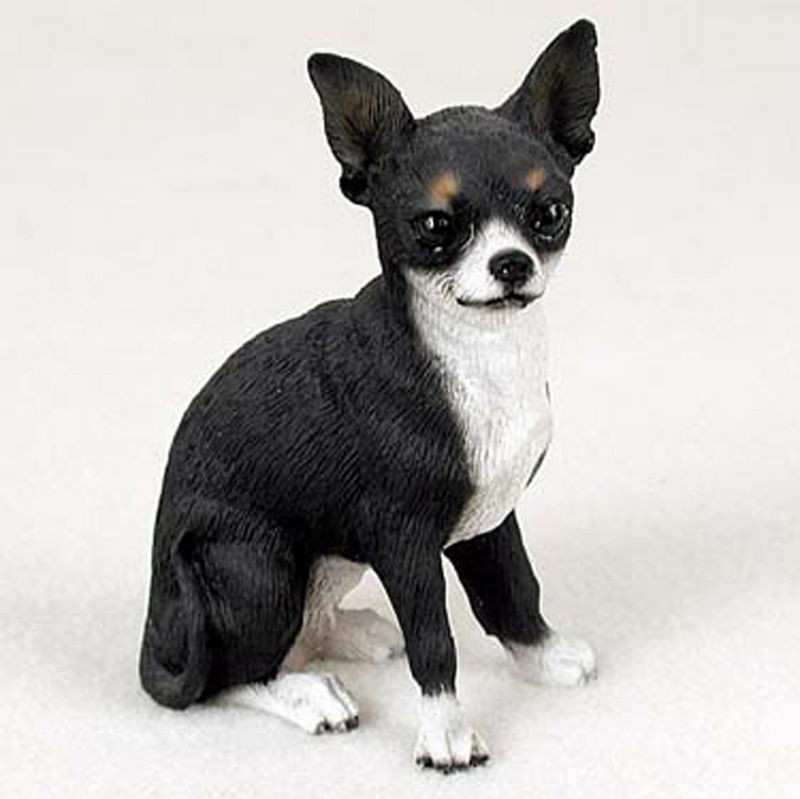 chihuahua black and white chihuahua hand painted collectible dog figurine statue 9585
