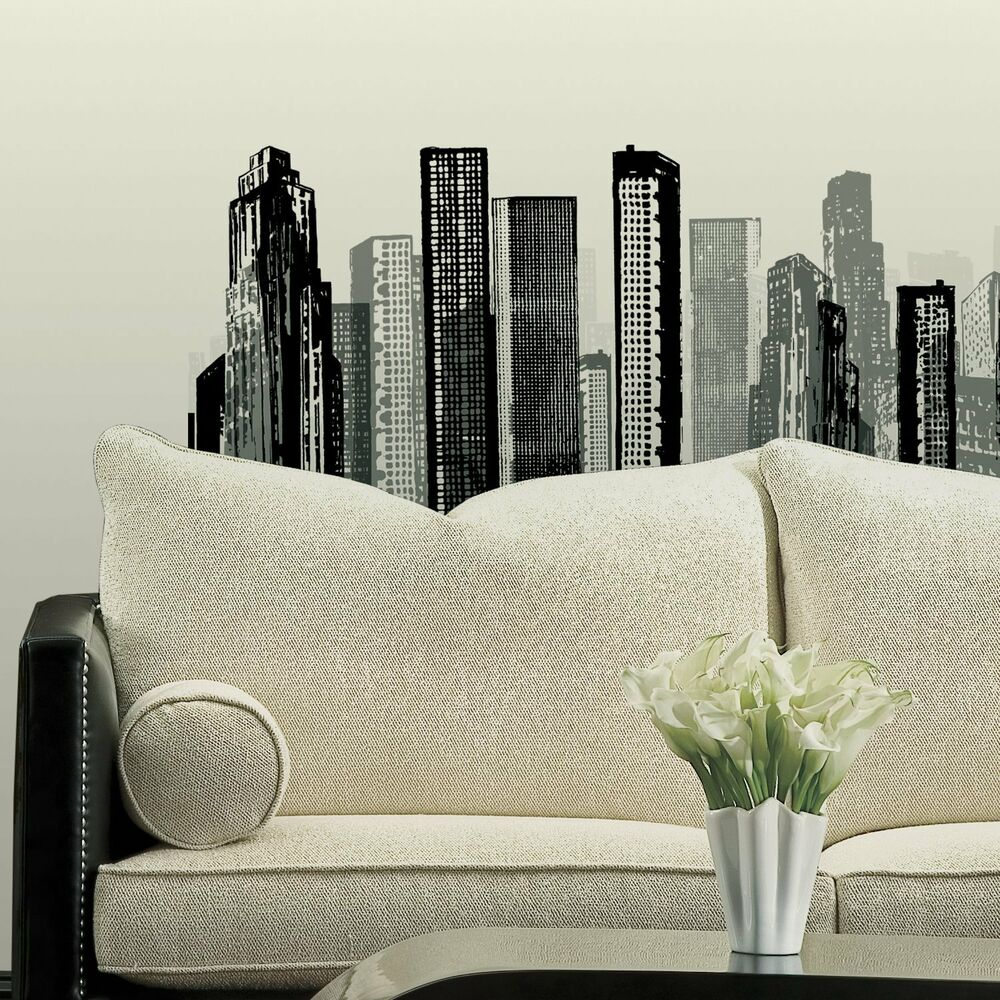 Cityscape giant wall stickers mural room decor decals for Cityscape bedroom ideas