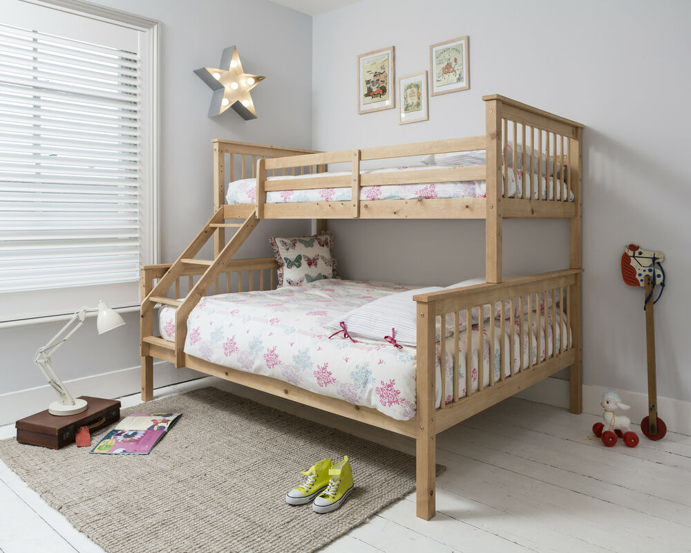 Triple Sleeper Bed Bunk Bed Double Bed in Pine Hanna