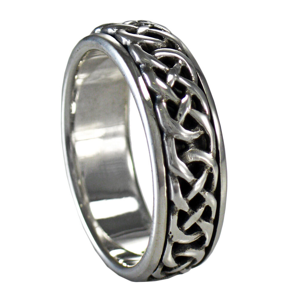 celtic knot 2 spinner ring rotating band worry sterling