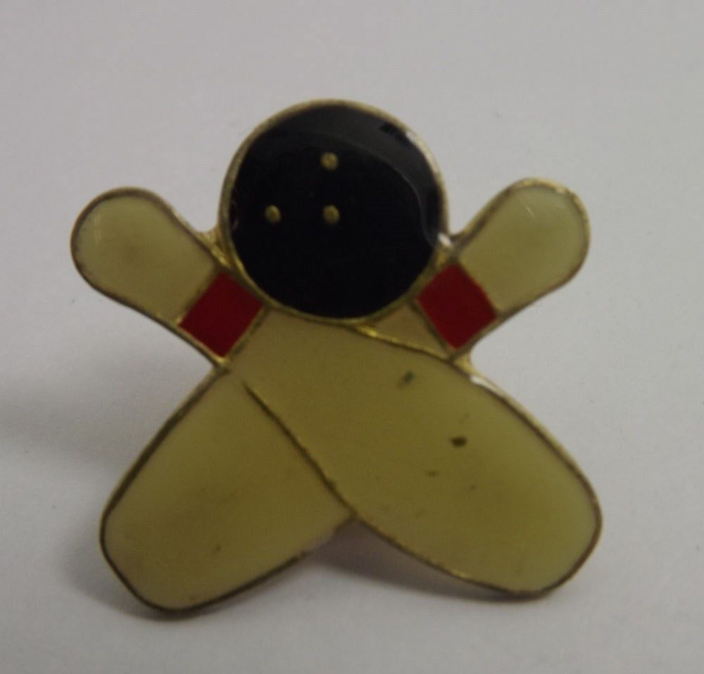 unique enamel bowling and pins crossing hat pin lapel