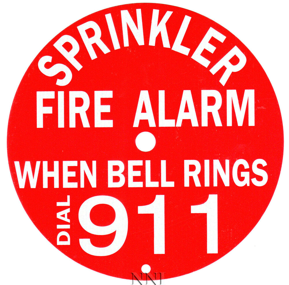 Bells Fire Safety : Quot round sprinkler fire alarm bell sign call
