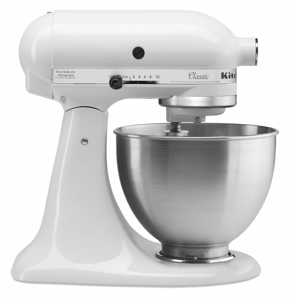 new kitchenaid stand mixer 4 1 2 quart k45sswh all metal white tilt classic new 726670964243 ebay. Black Bedroom Furniture Sets. Home Design Ideas