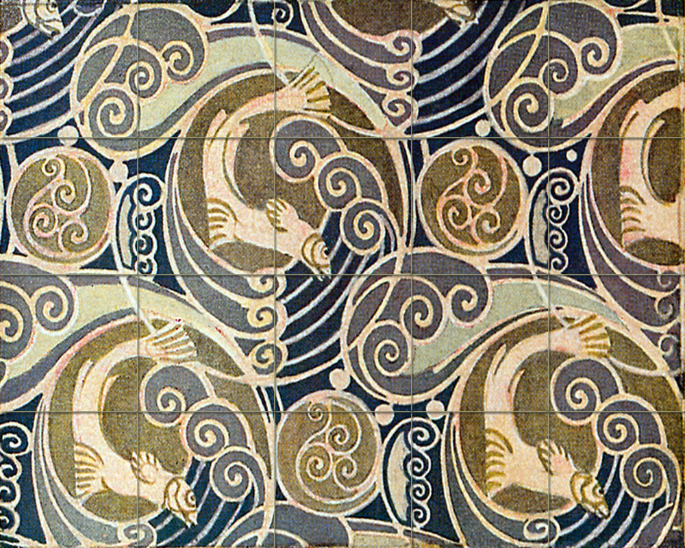 Ceramic mural backsplash bath art nouveau tile 522 ebay for Crossing the shallows tile mural