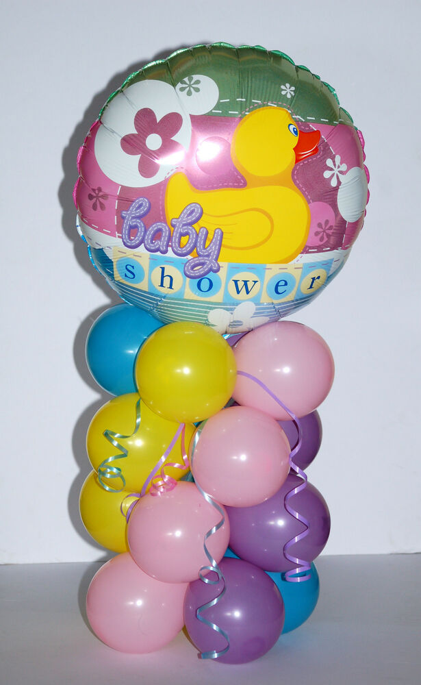 Baby shower foil balloon table centerpiece display boy