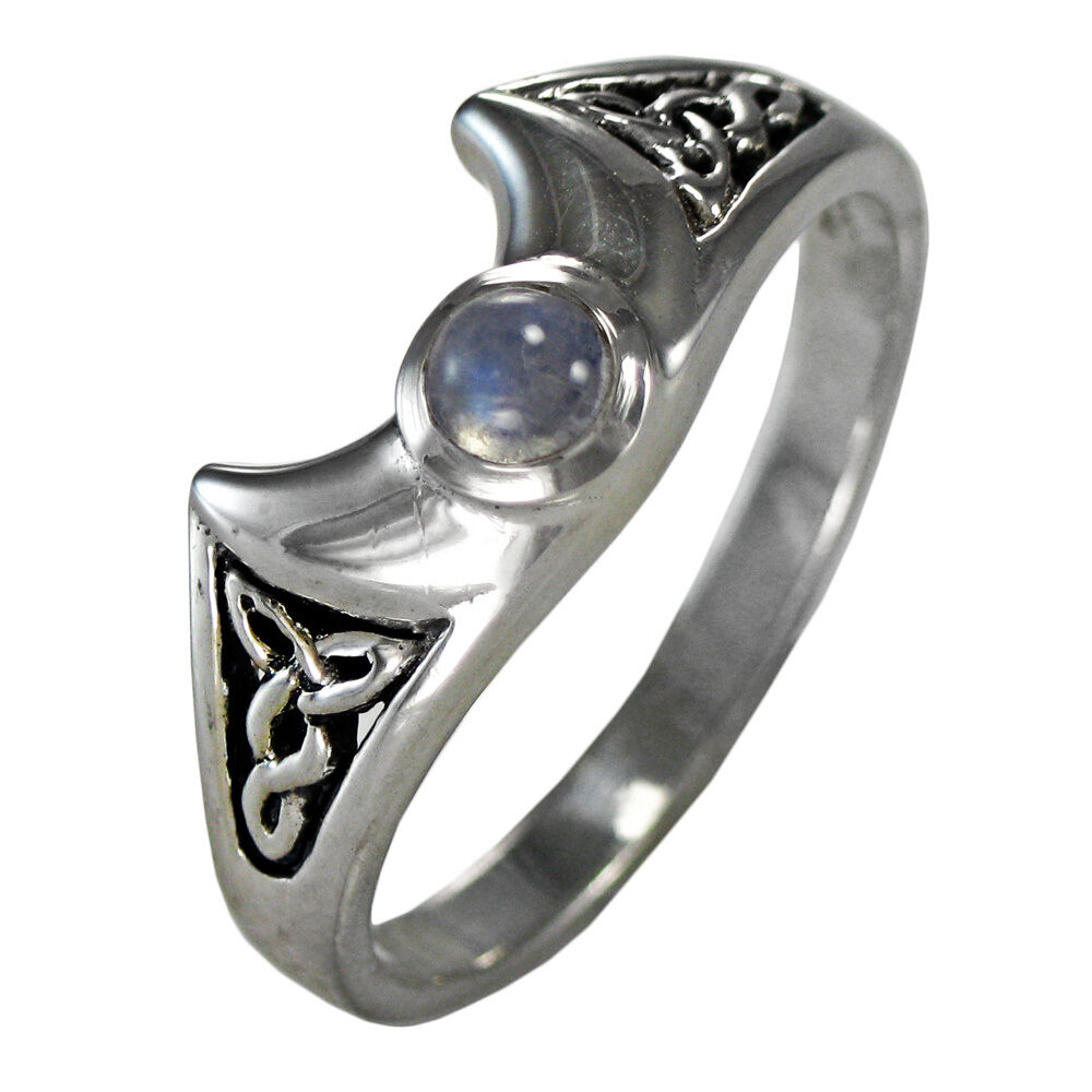 Crescent Moonstone Ring Sterling Silver SS Celtic Knot ...