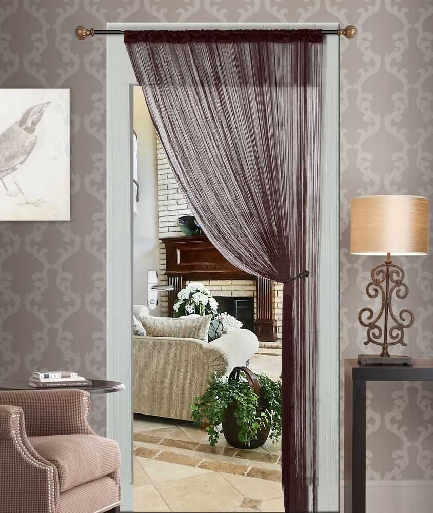 New brown string thread curtain panel fringe blind living for Curtain partition living room