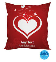 PERSONALISED VALENTINES DAY GIFT CLASSY HEART CUSHION ANY MESSAGE / TEXT