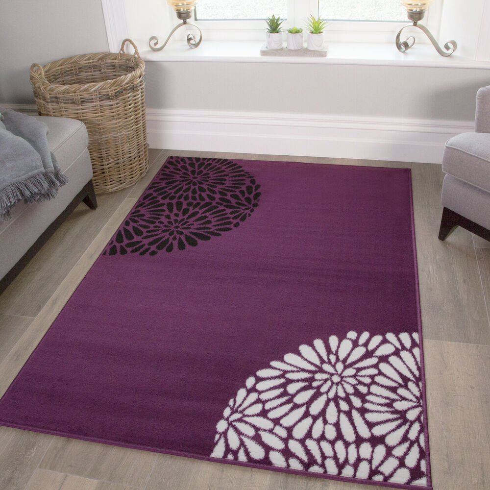 Large Living Room Rugs Small Large Purple Aubergine Modern Rugs Quality Soft Floral