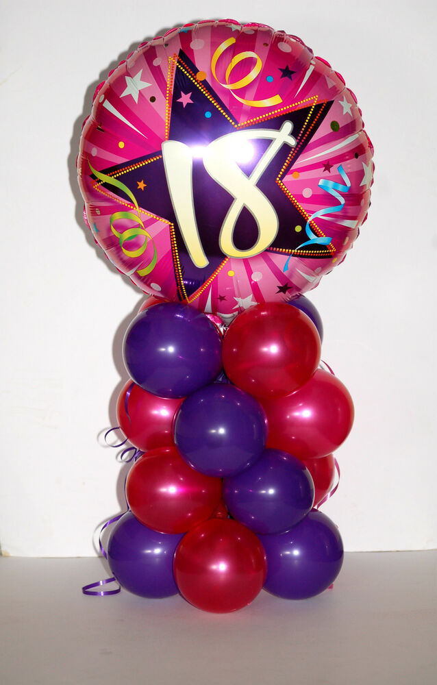 16TH-60TH FOIL PINK/PURPLE BIRTHDAY BALLOON DISPLAY TABLE ...