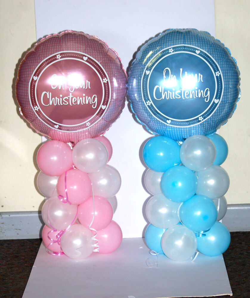 Christening 18 inch foil balloon display table for Balloon decoration ideas for christening
