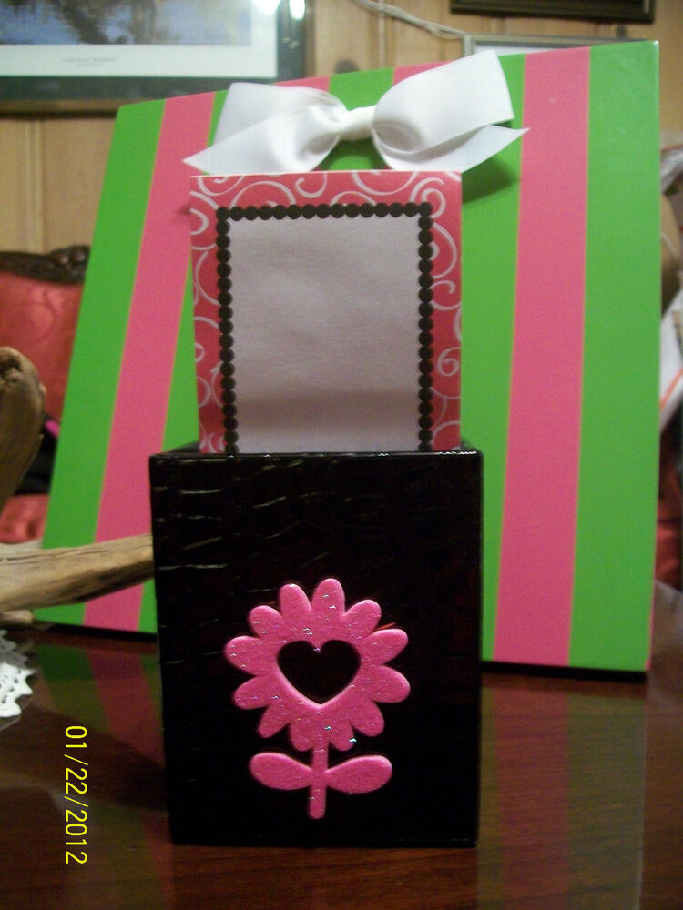 New Black With Hot Pink Glitter Daisy Memo Pad Pencil