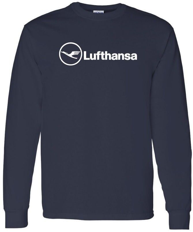 Lufthansa retro logo german airline long sleeve t shirt ebay for Retro long sleeve t shirts