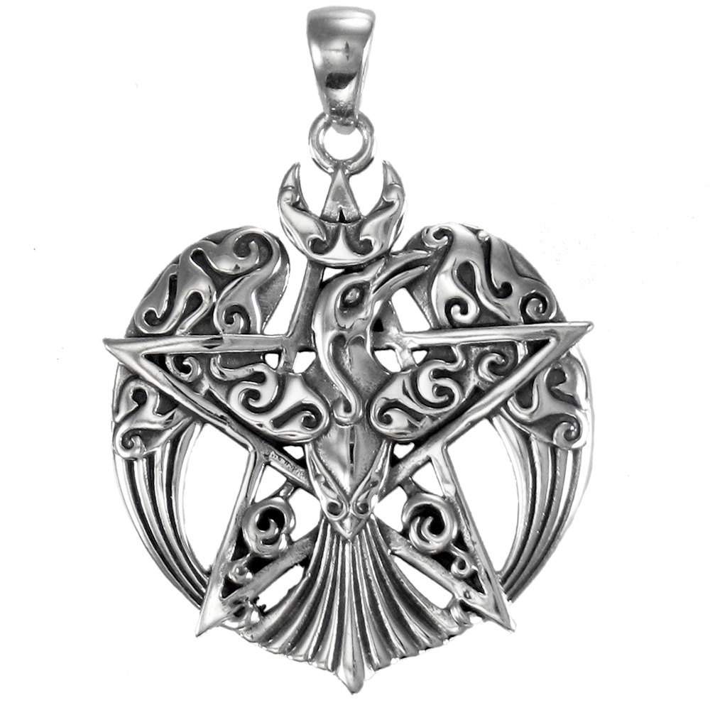 pentacle pendant sterling silver wicca goddess
