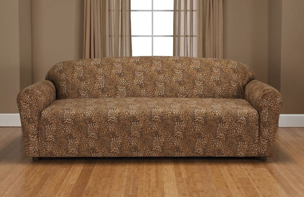 Leopard Jersey Sofa Stretch Slipcover Couch Cover Chair